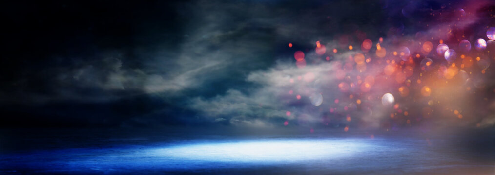 abstract dark concentrate floor scene with mist or fog, spotlight, glitter for display