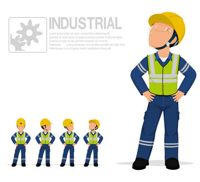 Industrial worker in reflective vest are posing akimbo on transparent background.