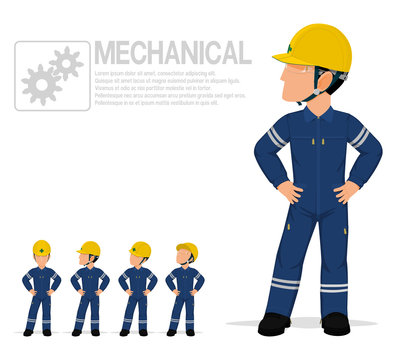 Mechanical worker in mechanic jumpsuit are posing akimbo on transparent background.