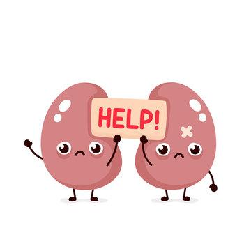 Sad suffering sick cute kidneys