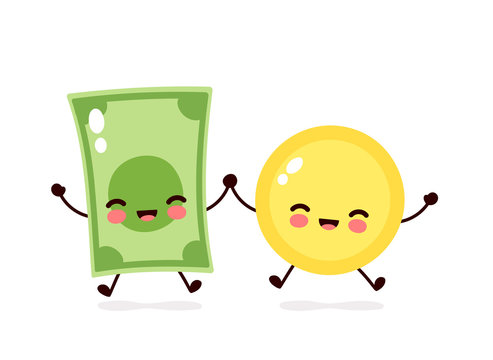 Cute happy coin and money banknote