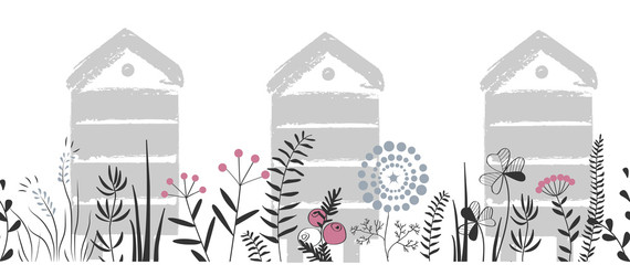 Wall Mural - Vector nature seamless background with hand drawn wild herbs, flowers and leaves on white. Doodle style cartoon floral illustration. Vector