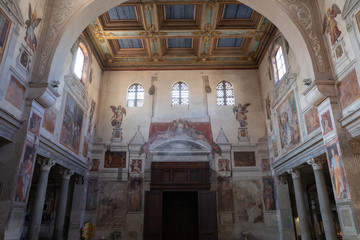 Spoed Foto op Canvas Milan Panoramic view of interior of the The Basilica of Saint Praxedes