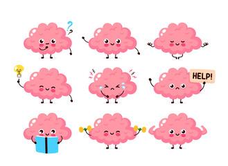 Cute human brain set. Healthy and unhealthy organ