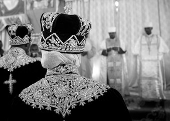 Newlywed couple during an ethiopian wedding in an orthodox church, Zway, Ethiopia