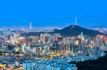 Aluminium Prints Seoul Seoul city and n seoul tower and Skyscrapers, Beautiful city at night, South Korea.