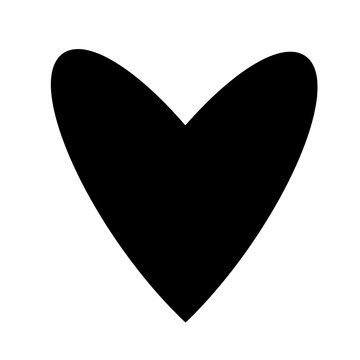 Black heart logo. Hand drawn trendy love icon sign flat design. Vector illustration calligraphy art glyph style, solid color EPS 10. Thin geometric shape silhouette isolated on white background.