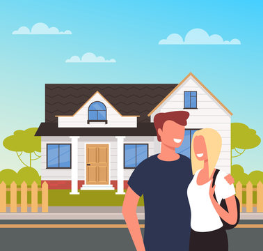 Two people man and woman couple characters buying new house. Happy young family concept. Vector flat cartoon graphic design isolated illustration