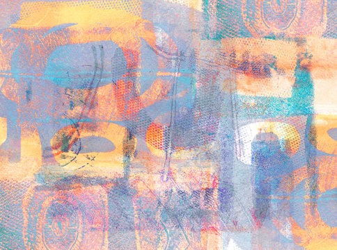 Handmade Abstract Acrylic Design on Watercolour Paper Background