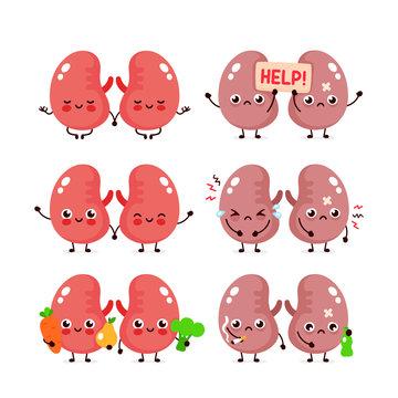 Cute kidneys set.Healthy and unhealthy organ
