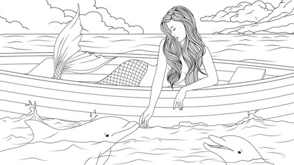 Beautiful mermaid with dolphins