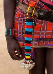 Detail of banna woman loincloth and beaded dagger case on belt ethiopia