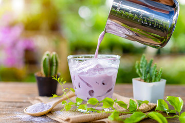 Iced purple Taro milk in clear glass served on wooden table in garden cafe