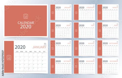 Business Calendar 2020 Business calendar 2020.Orange monthly calendar can be used for