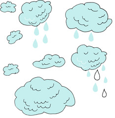 Hand drawn Doodle sign clouds and raindrops isolated on white background. Vector illustration of weather forecast line art