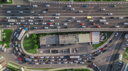 Drones Eye View - city traffic jam top view, transportation concept