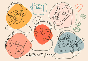 Modern abstract faces. Contemporary female silhouettes. Hand drawn outline trendy illustration. Continuous line, minimalistic concept. Colored vector set. All elements are isolated. Pastel colors Wall mural