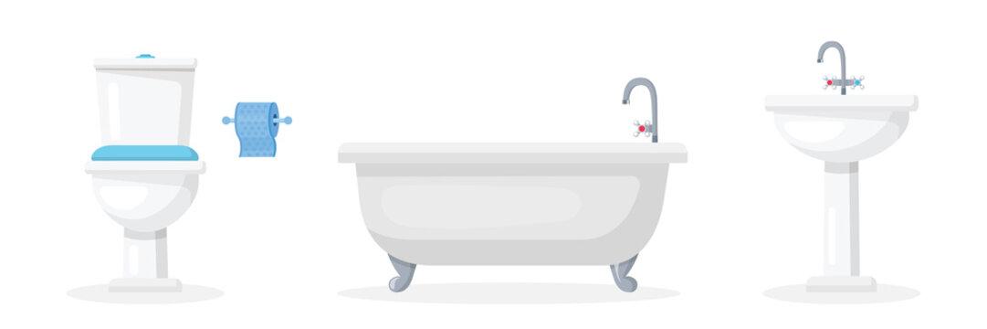 Bathroom attributes flat vector illustrations set