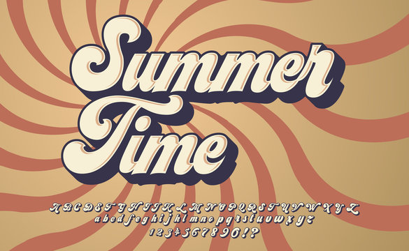 Summer Time. Retro 3d font in 80s style. Vintage typography. Summer font set.