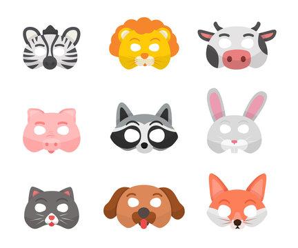 Animal masks flat vector illustrations set