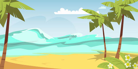 Tropical island flat vector color illustration Wall mural