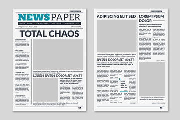 Newspaper template. Column articles on newsprint background. Pressed paper newspaper sheets with headline. Vector editorial print layout