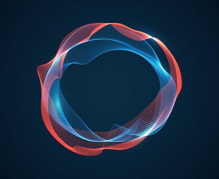 Music circle wave. Sound beat ripples emit waves flux. Music spectrum neon lines. Digital audio studio vector abstract background