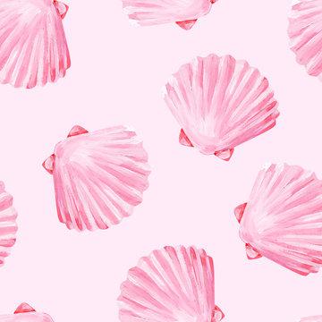 Gouache seamless uniform beach pearl pink seashells on pink background