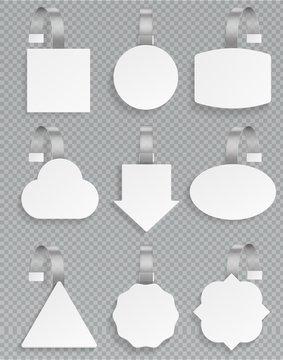 White wobblers. Blank 3d mockup plastic white price template advertising sale wobbler tag discount promotion retail set vector design
