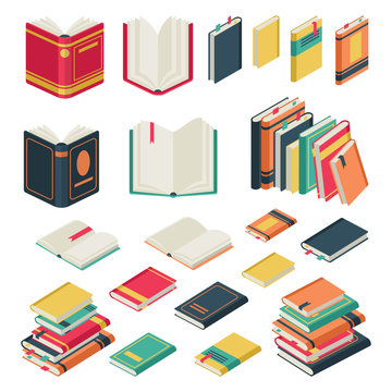 Isometric book collection. Opened and closed books set for school library publishing dictionary textbook magazine vector set
