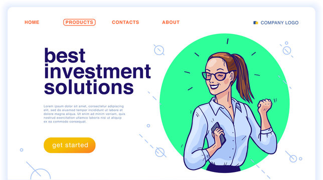 Vector landing page design template with illustration of happy business woman with smartphone. Hand drawn sketch style. Investment solution, employee, partnership, consulting, success, deal concept.