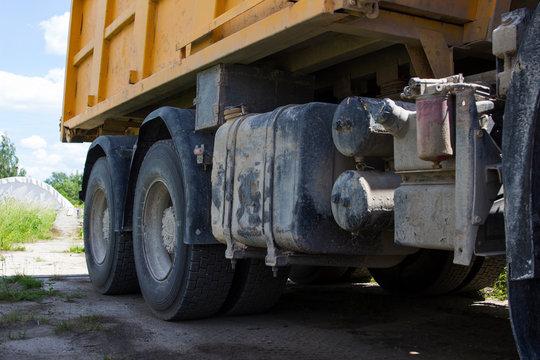 two rear wheels of a yellow dump truck