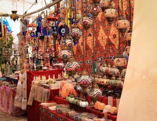 Traditional arabic lantern in a street market