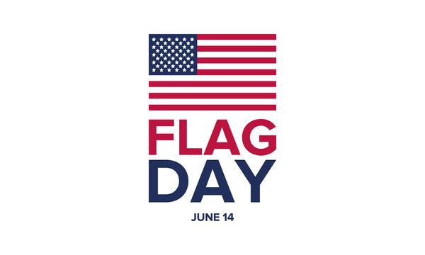 National Flag Day in United States. Holiday celebrated annual June 14 in USA. Patriotic style design with american flag. Poster, greeting card, banner and background. Vector illustration