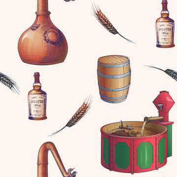 Whiskey making process from grain to bottle. Pieces of equipment. Seamless Pattern. EPS10 vector illustration.
