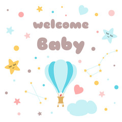 Kids poster Text Welcome baby Cute air ballon stars sky Baby shower template Vector Illustration