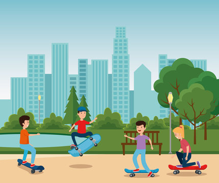 boys and girl playing skateboard in the park