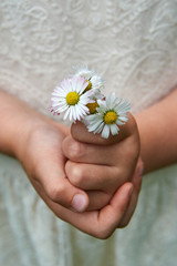 Girl holds a bouquet of daisies in her hands.