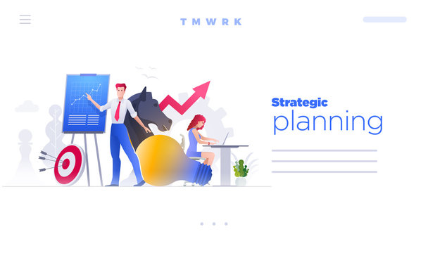 People are working on strategic planning and marketing strategies