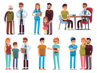 Doctors and patients. Medicine office staff hospital diagnosis treatment patient clinic doctor nurse professional help, vector image