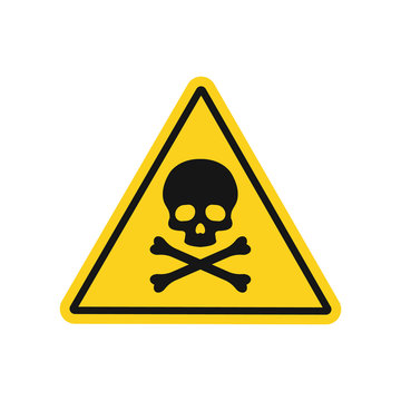 Skull and bones danger sign. Vector. Isolated.