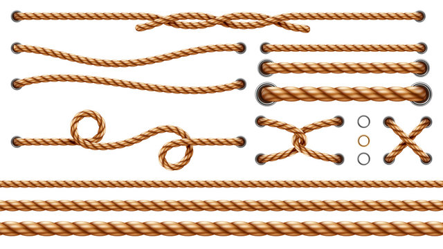 Set of isolated straight ropes and tied cross strings, realistic navy thread through metallic holes. Intertwined navy 3d cord. Vintage brown looped fiber with knot and noose. Nautical twisted whipcord