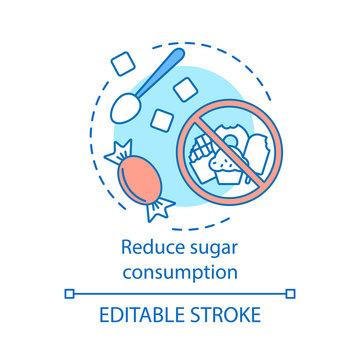Reduce sugar consumption concept icon