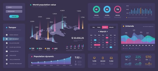Infographic dashboard template. White modern web app UI with graphs round bars and charts. Vector admin creative workflow panel design