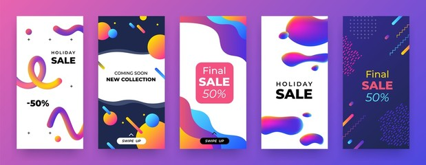 Social media banner. Mobile discount coupon, story sale page template, abstract promo app layout. Vector illustration landing trend collection