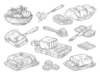 Hand drawn butter. Sketch breakfast culinary ingredient, drawn compositions with bread and butter. Vector images doodle farm fats set