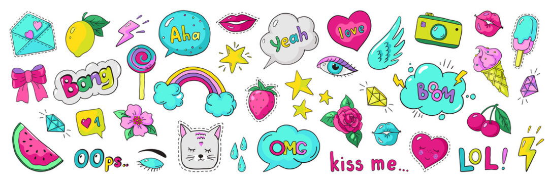 Doodle 90s stickers. Pop art fashion comic badges, trendy cartoon 80s kawaii icons. Vector lol rainbow cherry heart modern girl patches illustration set
