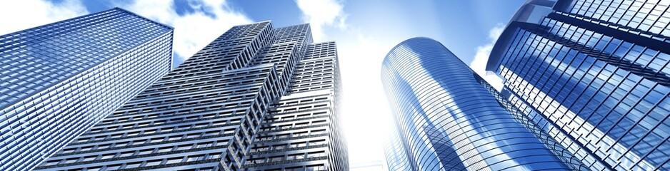Beautiful skyscrapers against the sky, panorama of modern high-rise buildings, 3d rendering Wall mural