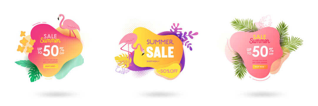 Set of Summer sale banner template. Liquid abstract geometric bubble with tropic flowers, flamingo. Tropical background and backdrop, Promo badge for seasonal offer, promotion, advertising. Vector