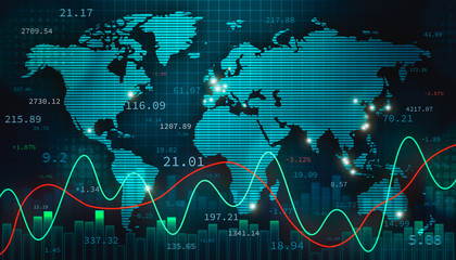 Stock foreign exchange or forex illustration with the world map, infographics and numbers. International finance, trade and economy concept.